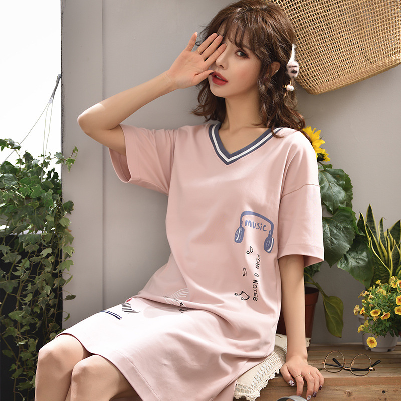 Peach Scent New Style Knitted Cotton Short Sleeve Medium-length Dress Pullover Dress Casual Loose-Fit Spring Winter WOMEN'S Nigh