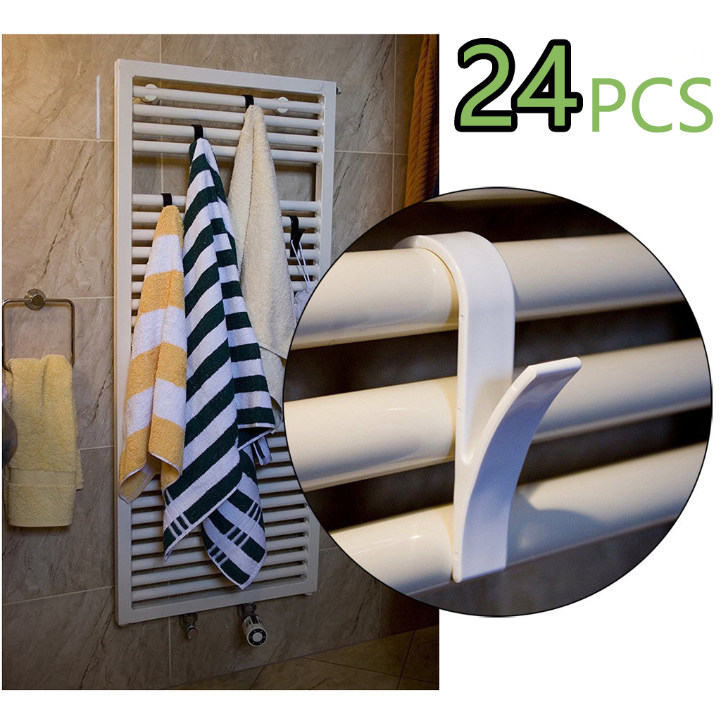 24pcs High Quality Hanger For Heated Towel Radiator Rail Bath Hook Holder Clothes Hanger Percha Plegable Scarf Hanger White MF