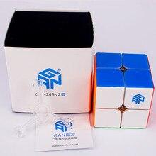 Gan249 v2 m magnético 2x2x2 cubo mágico gan 249 v2m quebra-cabeça cubo 2x2 magnético velocidade cubo gans cubo mágico