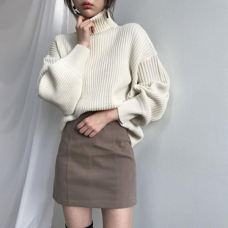 Fashion Oversized Turtleneck Sweater Women 2019 Casual Lantern Sleeve Knitting Pullovers Solid Woman Winter Warm Sweater