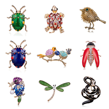 Branch Two Bird Leaf Pearl Ladybug Beetle Dragonfly Turtle Rhinestone Painting Oil Insect Animal Brooch Golden Leg Women Jewelry cretaceous very rare fern leaf burmite myanmar amber insect 100 million years lynx stone men women golden jewelry accessory