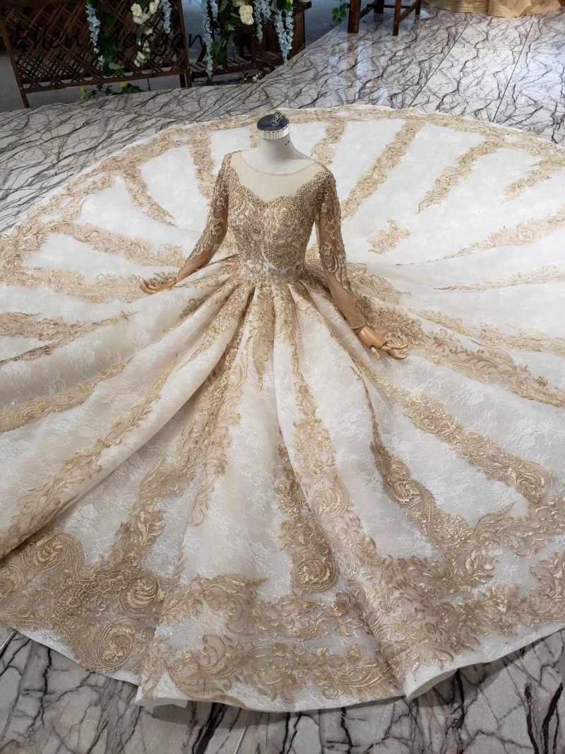 Свадебные платья с длинным рукавом в винтажном стиле, Золотое кружевное бальное платье с вырезом лодочкой и шлейфом для женщин 2019