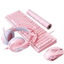 Jogo do teclado do rato teclado mecânico do jogo com fio mouse fone de ouvido com microfone luz respiração para computador computador portátil rosa