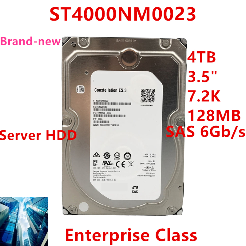 """New HDD For Seagate/Dell Brand 4TB 3.5"""" SAS 6 Gb/s 128MB 7200RPM For Internal HDD For Enterprise Class HDD For ST4000NM0023 1"""