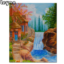 5D DIY diamond embroidery landscape with a house and a waterfall diamond painting Cross Stitch kits full square round drills(China)
