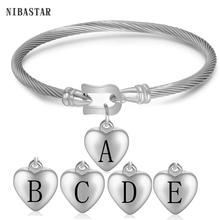 Twisted Cable Bracelets High Quality Heart Charm Bracelet Women's Stainless Steel Initials bracelets bangles for woman