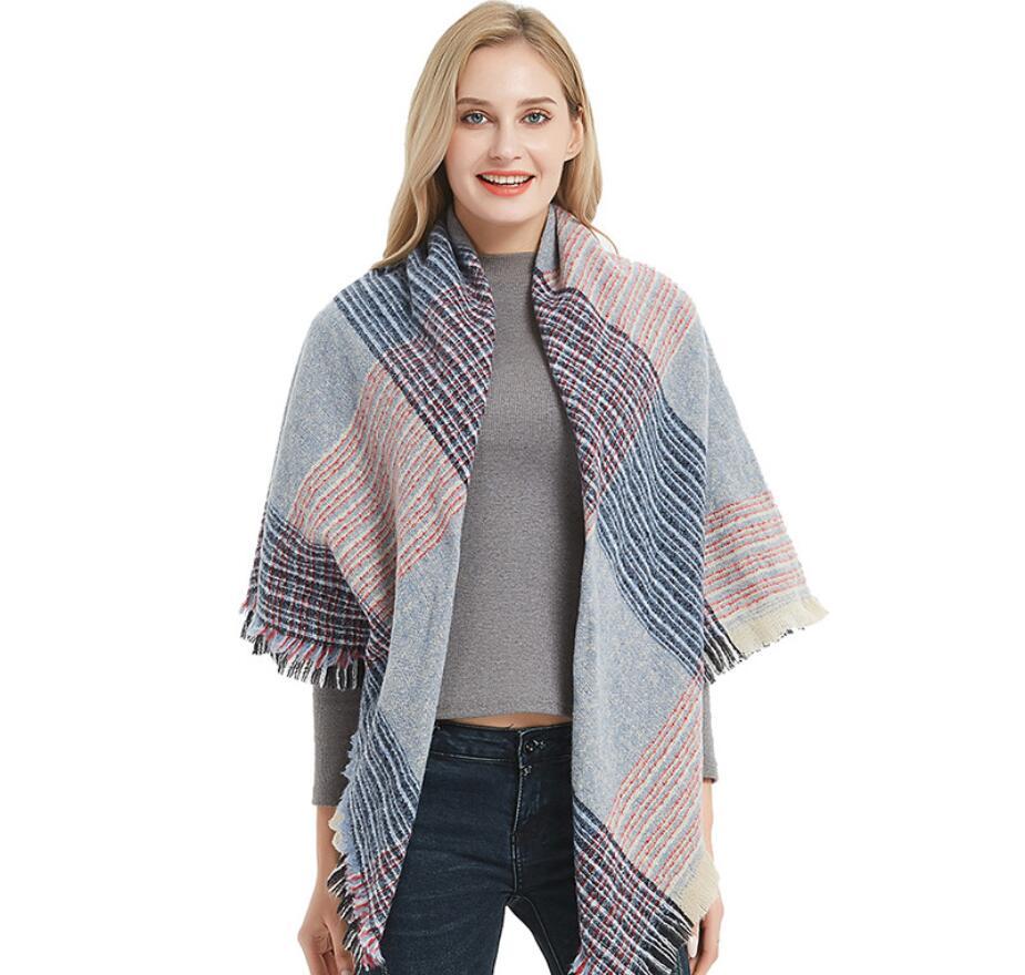 Women Autumn Stripe Cashmere Scarves Double Size Shawls Pashmina Warm Neck Triangle Rings Foulard Blanket Bandana Winter Wraps