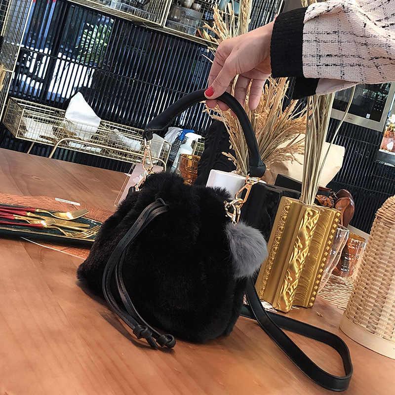 Bolsos De Mujer de felpa de moda bolsos de hombro con cordones de diseñador de lujo de piel de imitación bandolera bolso de señora cubetas bolsos monederos 2019 invierno
