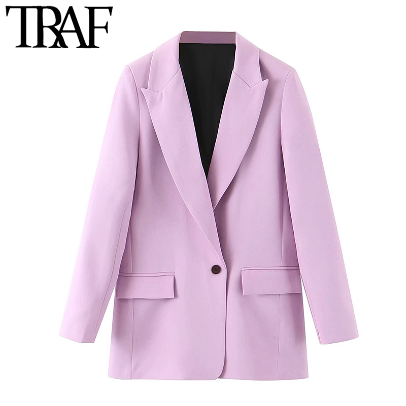 TRAF Women Fashion Office Wear Pockets Blazers Coat Vintage Notched Collar Long Sleeve Female Outerwear Chic Tops