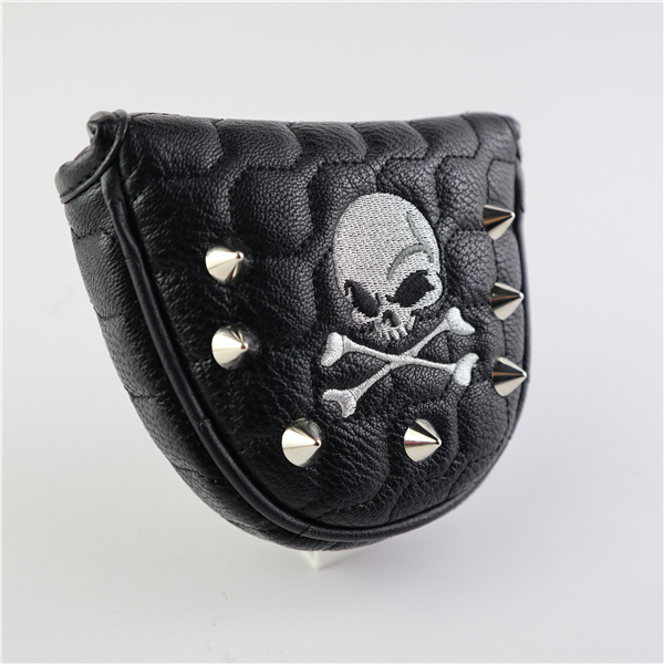 Golf Putter Cover Skull Rivets PU Leather Magnetic Closure Headcover For Mallet Putter Golf Head Covers