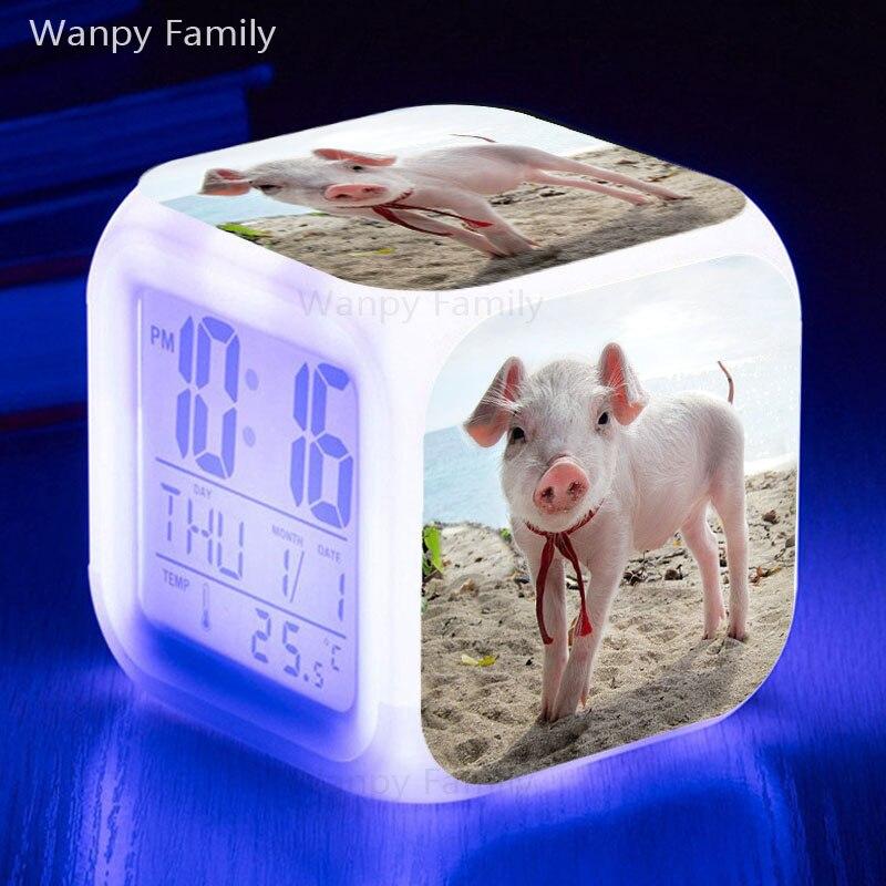 Vrlo lijepi svinjski budilici užarena LED promjena boje digitalni - Kućni dekor - Foto 5