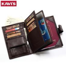 KAVIS אמיתי עור ארנק גברים דרכון בעל מטבע ארנק קסם Walet תיק MAN Portomonee מיני Vallet דרכון כיסוי
