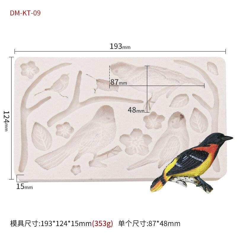 Yueyue sugarcraft pássaro floresta molde de silicone molde fondant ferramentas de decoração do bolo molde de chocolate
