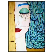 Top Hand painted High Quality Gustav Klimt Golden Tear Oil Painting famous Reproduction woman picture