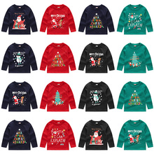 24 Patterns Spring Autumn Christmas children kids boys cotton clothes long sleeve t shirt t-sh...