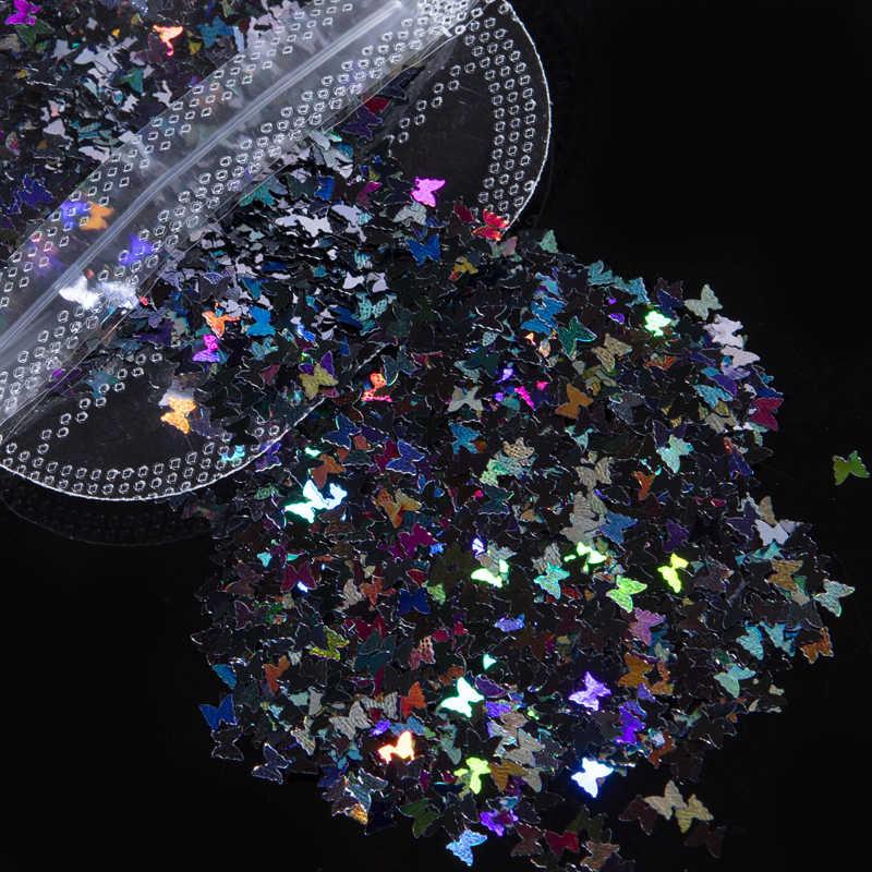 Decoración de uñas de mariposa 3D LOVCARRIE, copos de lentejuelas brillantes, suministros para uñas dorado holográfico, pegatinas para uña, decoraciones artísticas