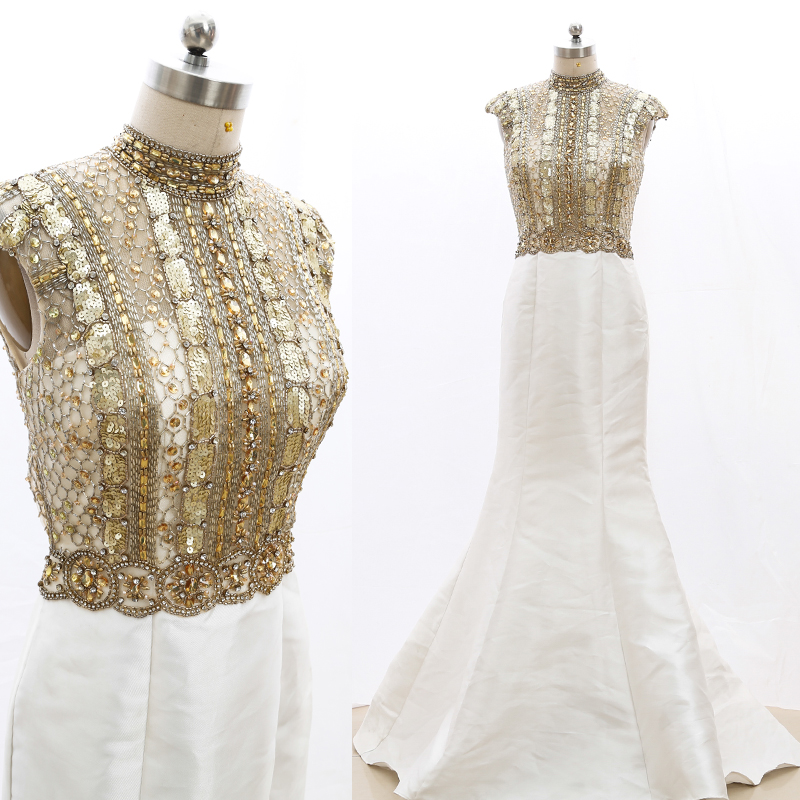 Kisswhite-vestidos de noche para baile de graduación, vestidos de novia de alta limpieza con cuentas doradas, sirena, en Stock, 20210223-011