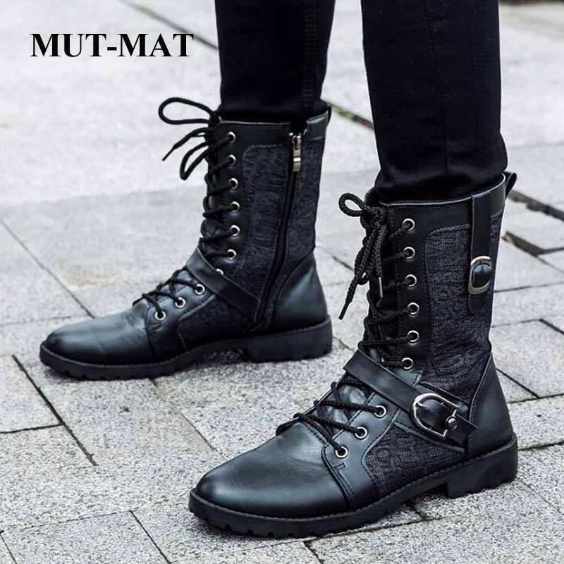 New men's metal buckle Martin boots trend British fashion leather boots high boots men's boots military boots leather boots image