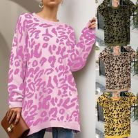 Chic Women Leopard Print O Neck Long Sleeve Pullover Knitted Sweater Blouse Top Loose Cotton Flat Knitted Casual Women's Sweater