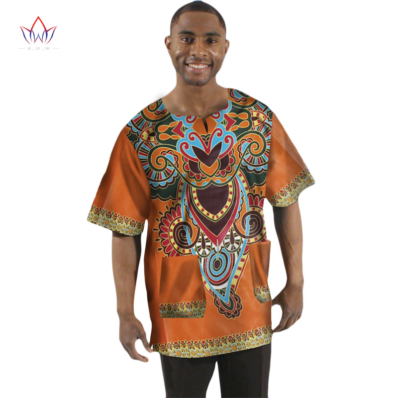 Traditional <font><b>African</b></font> Clothing Print <font><b>Wax</b></font> T-<font><b>shirt</b></font> <font><b>Men</b></font> Short Sleeve Print <font><b>Men</b></font> Dashiki V-Neck Tops Hot Sale BRW WYN74 image
