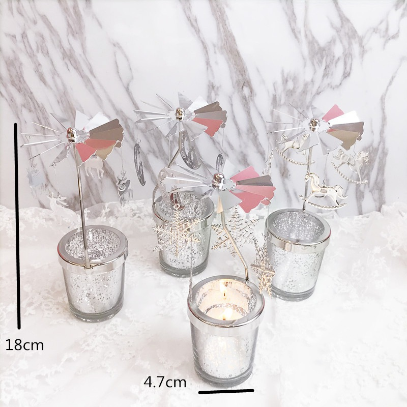 Metal Tealight Candle Holder Spinner Rotating Turning Spinning Candle Stick