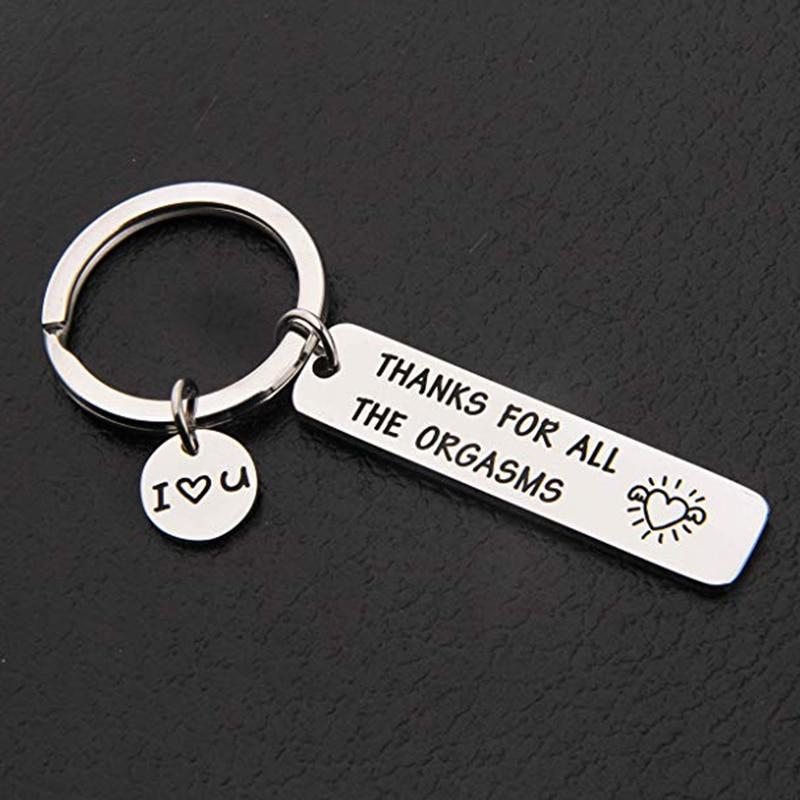 Индивидуальный брелок с гравировкой, спасибо за все оргазмы, которые я люблю тебя, брелок для пары, брелок для ключей, ювелирные изделия, под...