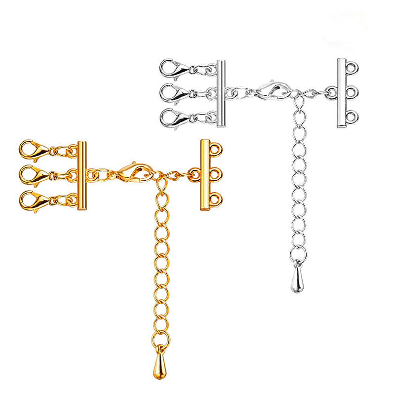 2 Sets Multi Strand Clasps With Lobster Clasps Extender Chain Necklace Bracelet Connectors For DIY Jewelry Making Findings