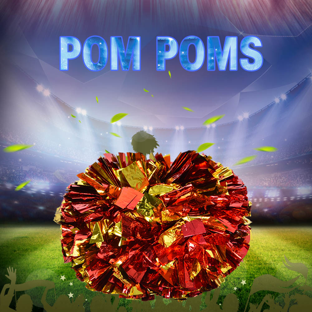2pcs Metallic Game Pompoms Cheap Practical Cheerleader 'S Cheering Pom Poms Apply To Sports Match For Cheerleader Activities