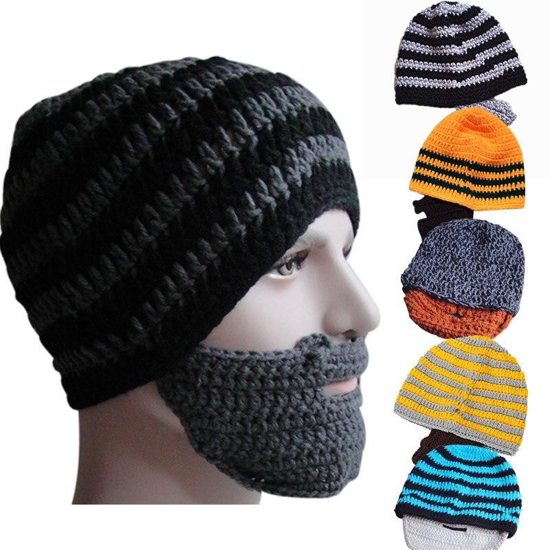 Новая модная вязаная шапка в стиле панк, вязаная крючком, Шапка-бини с усами, теплая зимняя маска для лица, лыжные снежные шапки FIF66