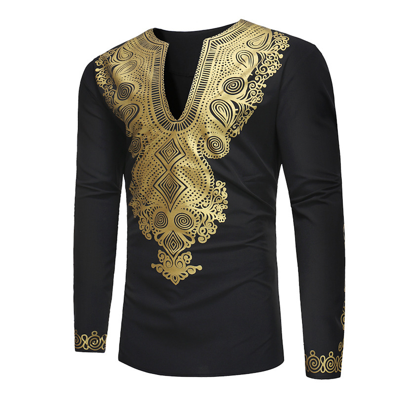Long Sleeve Traditional Male Africa Men Wear Nation Wind Printing Long T-shirt Cotton Top African Dress Africaine Vintage Blouse