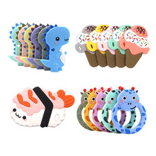 Baby Teethers Cartoon Shape Animals Teething Toys DIY Pacifier Clips Holder Food Grade Silicone Teetherds 1pc BPA Free Tiny Rod