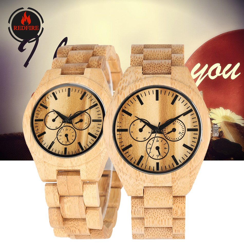 REDFIRE Wood Watch Men Women Quartz Full Wooden Bangle Wristwatch Trendy Decoration Dial Couple Wood Watches Relojes De Pareja