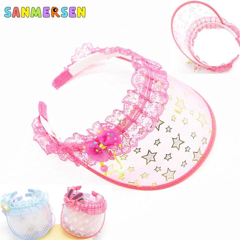 New Summer Lace Girl Kids Sun Hat Princess Hat Candy Color Transparent Empty Top Sunshade Hat Visor Caps Outdoor Sport Sun Hat