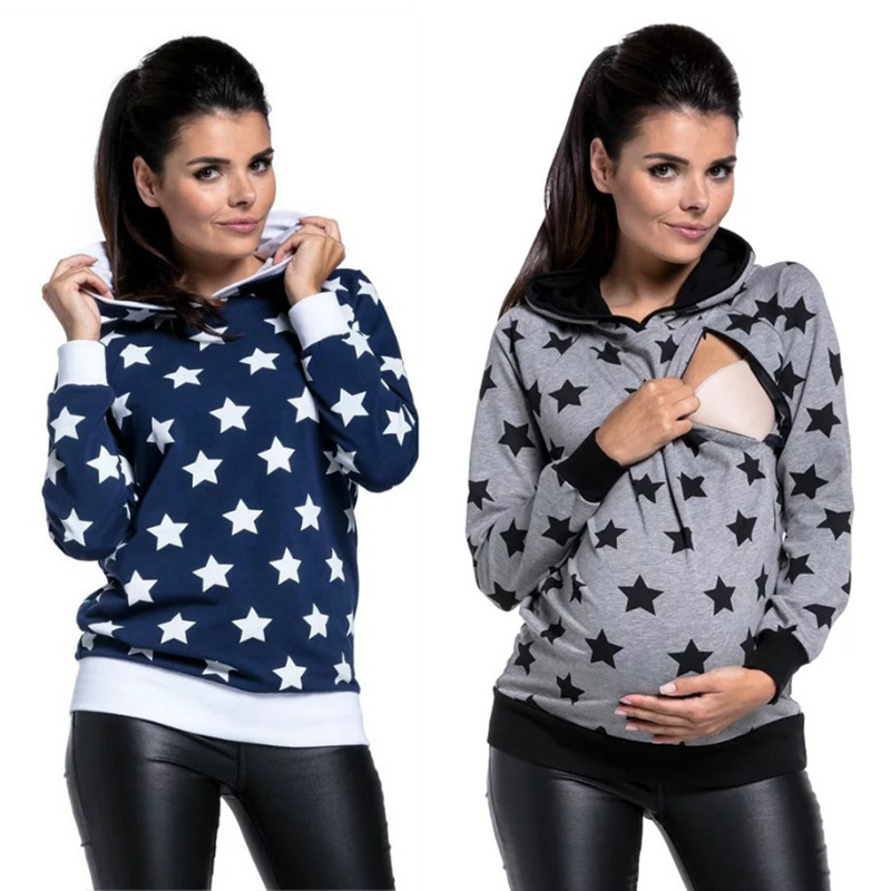 New Ladies Pregnant Women Star Print Breastfeeding Long-sleeved Hooded Sweater Maternity Tops Nursing Pregnancy Casual Clothes