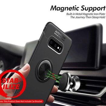Перейти на Алиэкспресс и купить Чехол Exynos с магнитным кольцом для samsung Galaxy S10E, мягкий матовый Силиконовый Роскошный деловой чехол для samsung S10 SD855