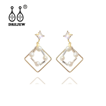 DREJEW Gold Square White Pearl Crystal Womens Statement Earrings Sets 2019 925 Drop for Women Wedding Jewelry HE1521