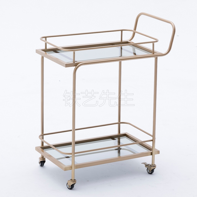 Golden Hotel Drinks Cart Restaurant Mobile Hand Push Diner Creative Meal Tea Cart