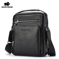 BISON DENIM fashion luxury men bag genuine leather handbag shoulder bags business male brand messenger bag