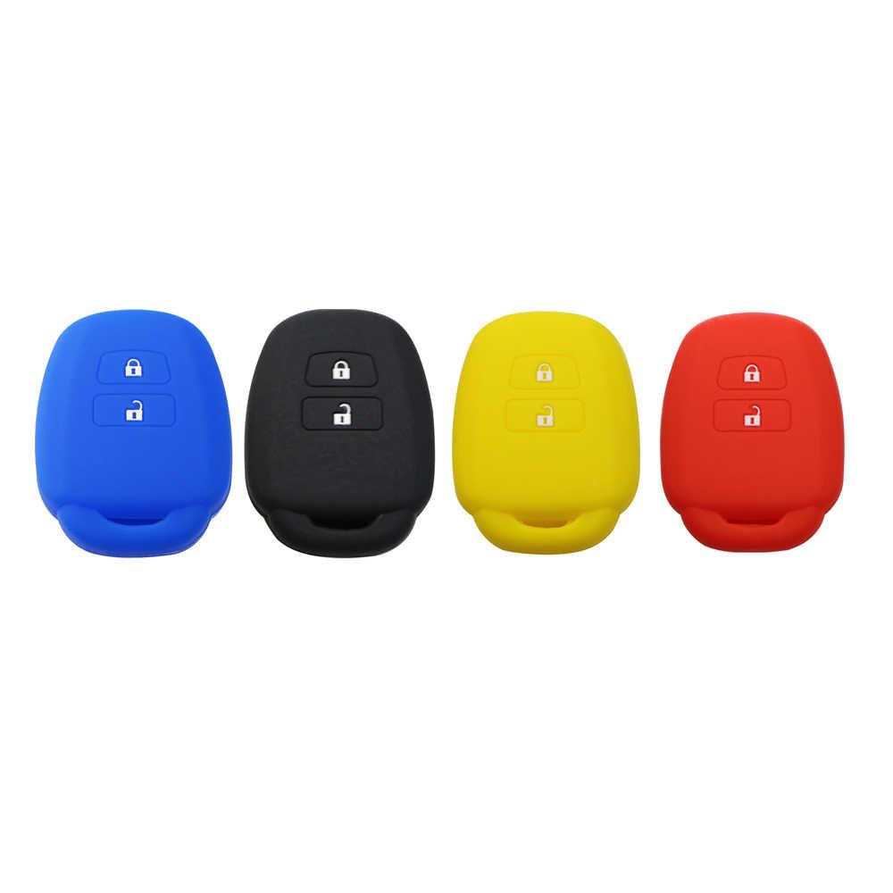 Daefar Silicone tampa da chave do carro shell caso fob para Toyota Ractis RAV4 HiAce Land Cruiser Vitz Do Aqua Pele Titular 2 botão 2010-2019