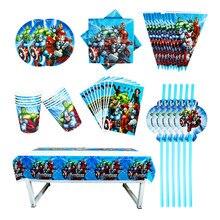 40/80/81/100 pçs os vingadores do chá de fraldas festa de aniversário decoração define banner saco de palha copo placa toalha de mesa suprimentos para crianças