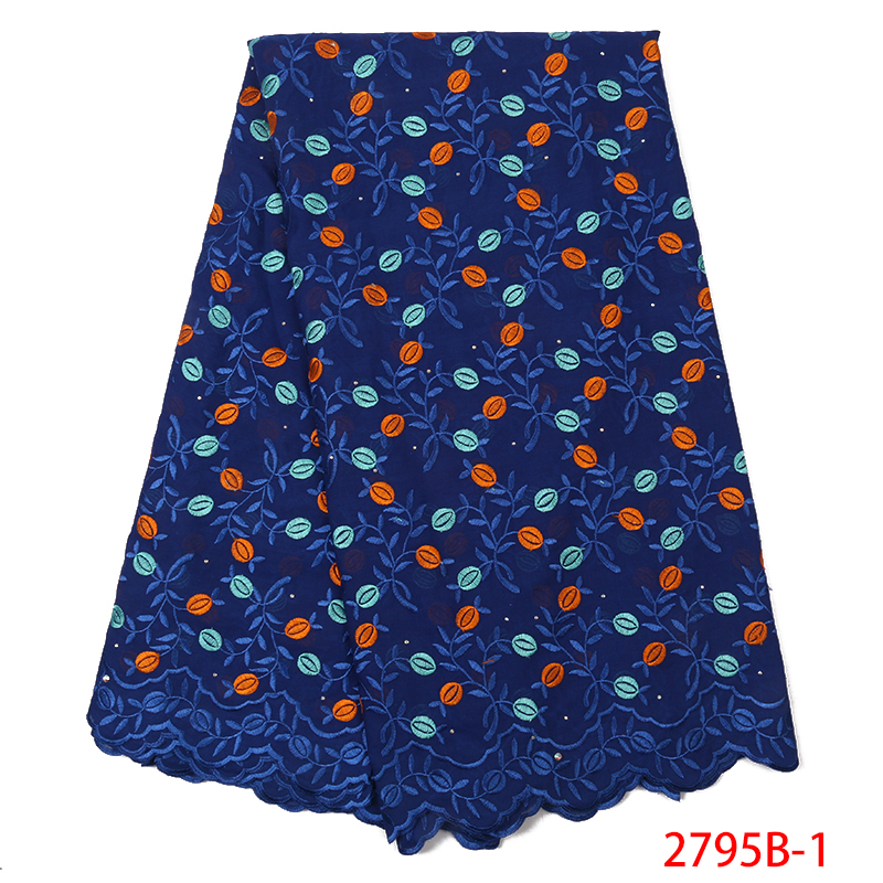 Latest Swiss Lace Fabric,High Quality Swiss Voile Lace In Switzerland,African Cotton Lace Fabric With Stones For Women KS2795B-8
