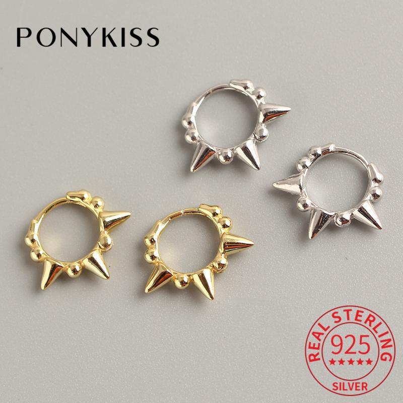 PONYKISS S925 Sterling Silver Round Bead Rivet Hoop Earrings Fashion Punk Unisex Earrings Accessory Girl Street Style Earrings