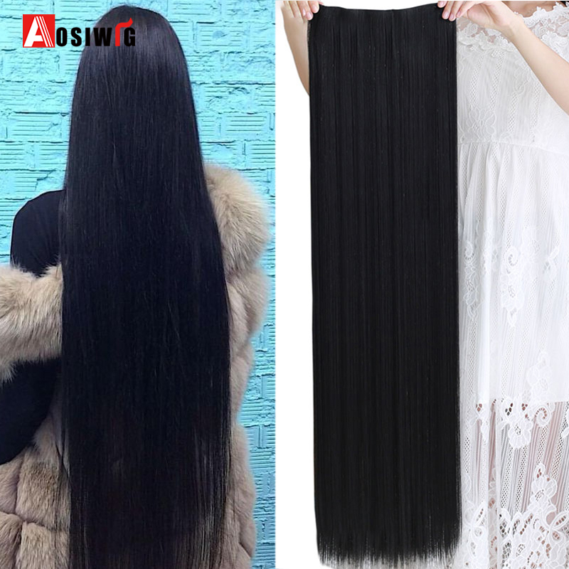 AOSI 5 Size Long Straight 5 Clip In Hair Extensions Black Brown Heat Resistant Synthetic Hair Piece For Women