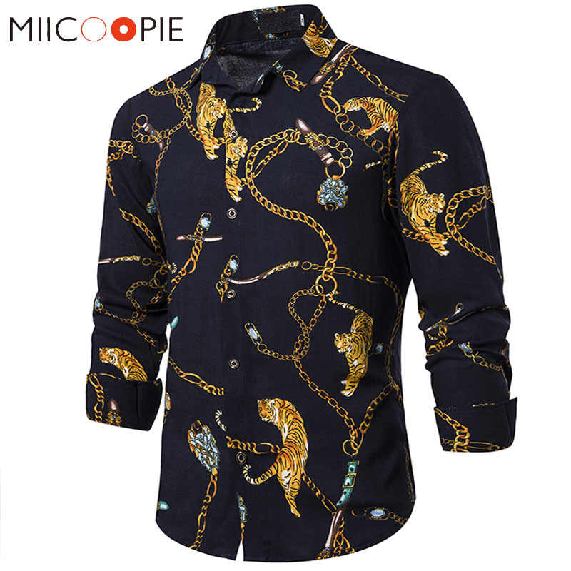 Золотая цепочка с принтом тигра, рубашки для мужчин, роскошное Брендовое платье для ночного клуба, Camisa, с длинными рукавами, в стиле хип-хоп, уличная Мужская Черная Рубашка