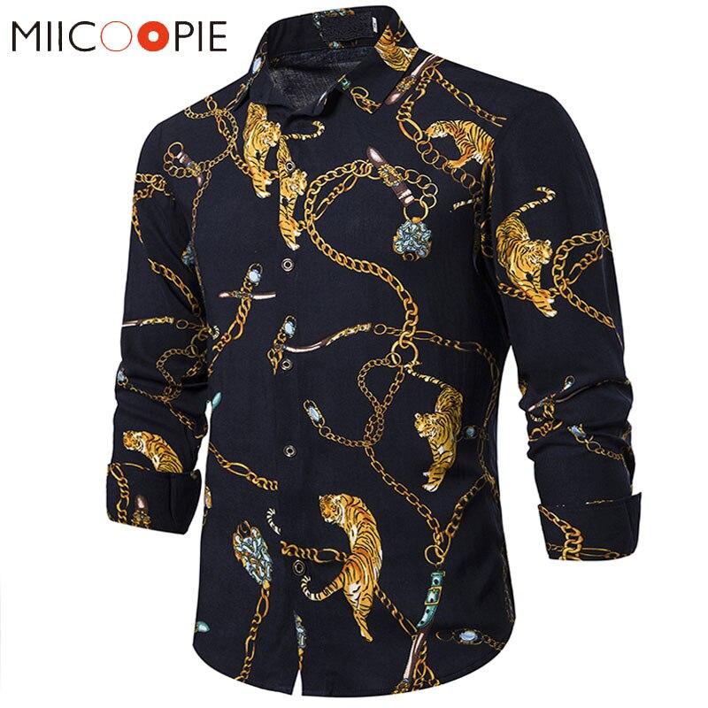 Golden Chain Tiger Printed Shirts Men Dress Luxury Brand Nightclub Camisa Social Long Sleeve Hip Hop Streetwear Mens Black Shirt