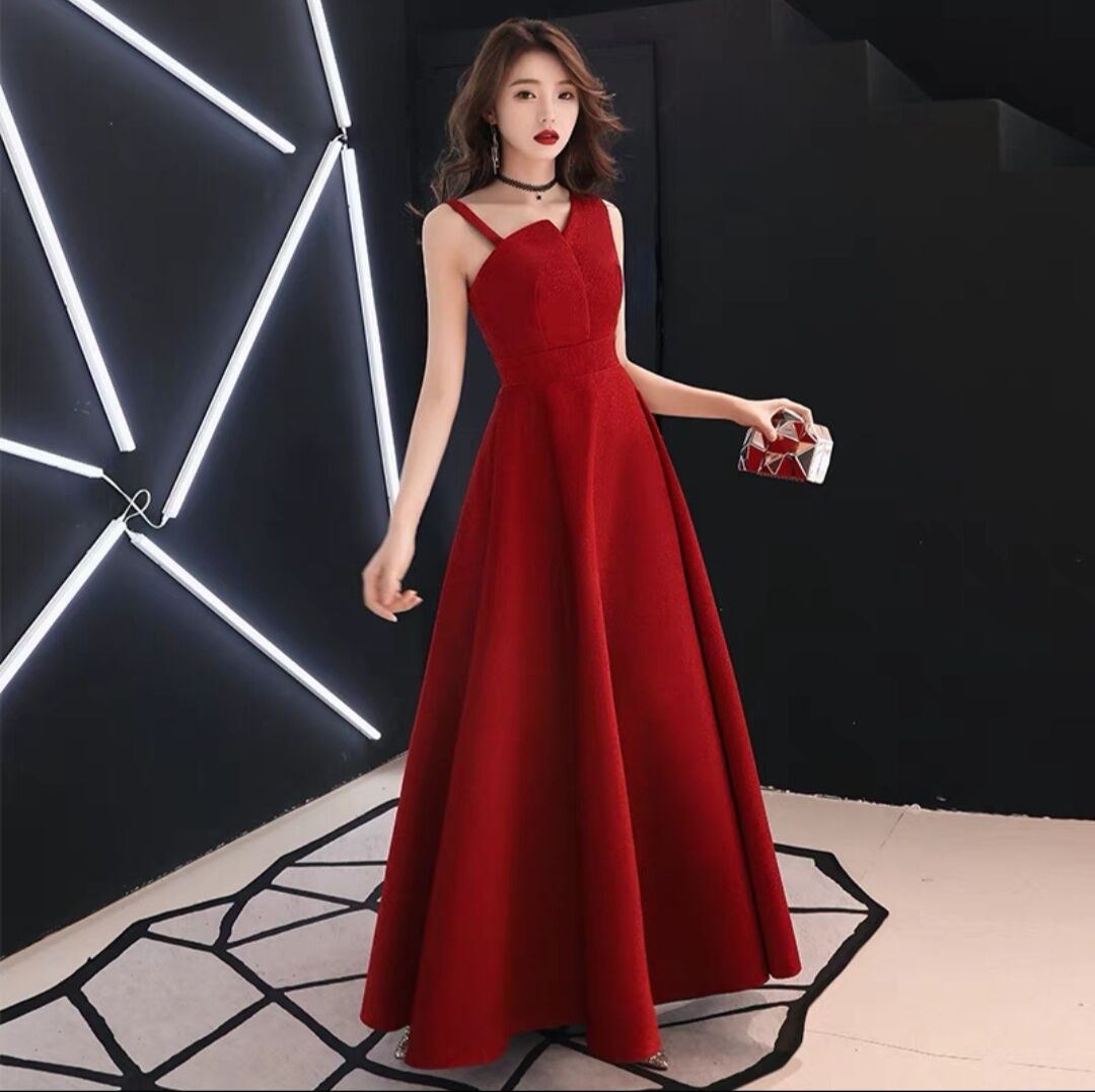 Evening Gown Women's 2019 New Style Nobility Elegant Autumn And Winter Long Slim Fit Slimming Poly Banquet Debutante Host Dress