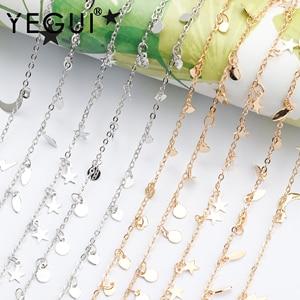 Yegui c181, corrente diy, 18k banhado a ouro, 0.3 mícrons, metal de cobre, ródio chapeado, encantos, diy pulseira colar, fazer jóias, 1 m/lote