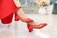 Marriage Shoes Chinese Style Embroidery Embroidered Chunky Heel Semi high Heeled Xiu Shoes Bridal Shoes Wedding Shoes Red Shoes|Portascarpe e separatori|   -