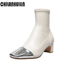 цена на mixed color leather women ankle boots new quality riding boots high heels zipper square toe fashion black ankle autumn boots