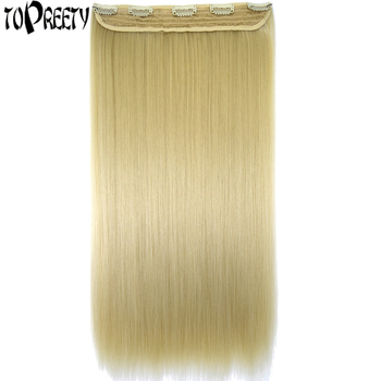 TOPREETY Heat Resistant B5 Synthetic Hair Fiber 130gr Straight 5 Clips on clip in Extensions 5016 - sale item Synthetic Hair